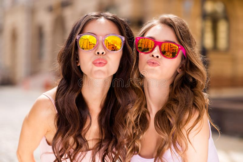 Close up photo gorgeous attractive millennial people coquettish attract boys men love lovers travel students send air royalty free stock photos