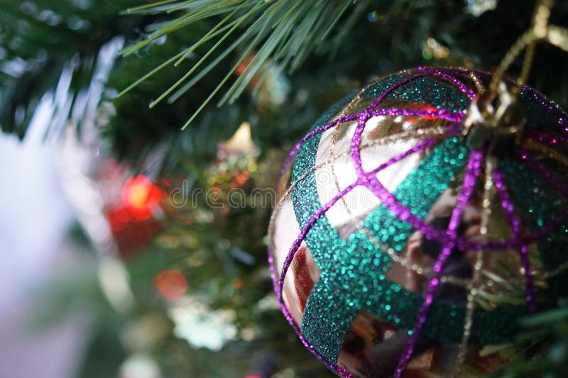 Close Up Photo of Gray and Multicolored Bauble royalty free stock image