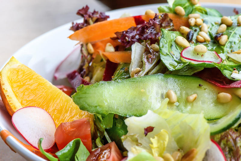 Close up photo of green healthy salad. With ruccola, tomatoes, cucumbers, beet and seeds royalty free stock photo