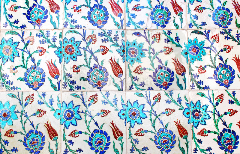 Close up photo of handmade Turkish tiles stock photo