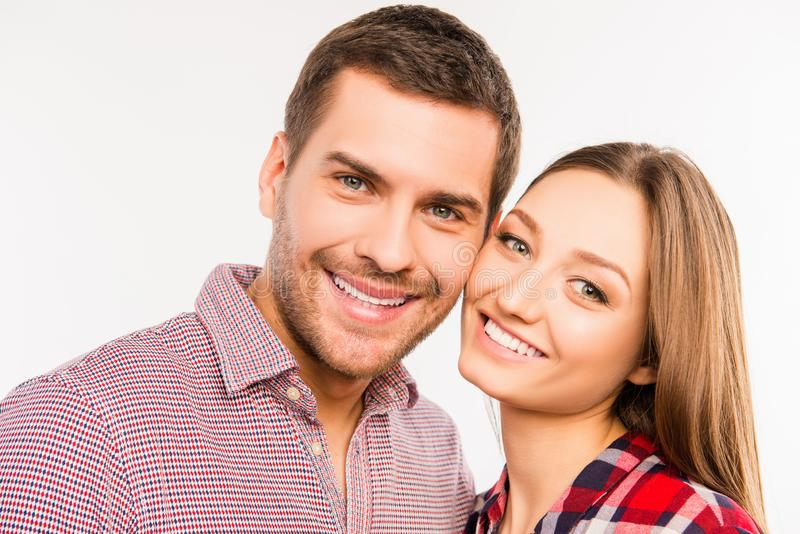 Close up photo of happy couple in love royalty free stock photography