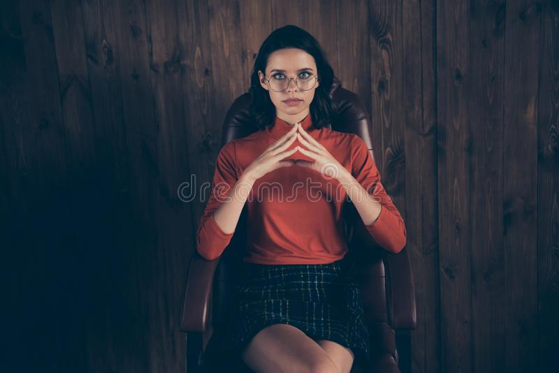 Close up photo of leader leadership lady enterprise owner sit leather furniture intelligent focused touch fingers wear royalty free stock photography