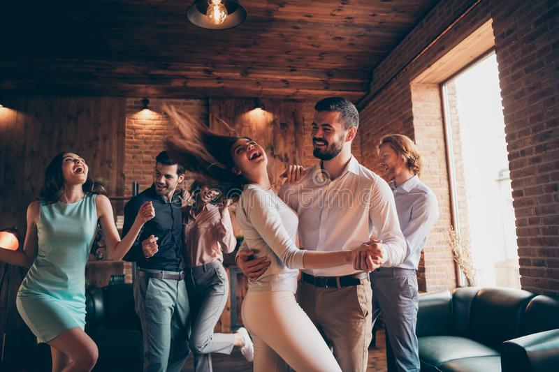 Close up photo love lovers classy best friends gathering hang out slow dance partners tango she her ladies hair volume. Flight he him his guys wear dress shirts stock photo
