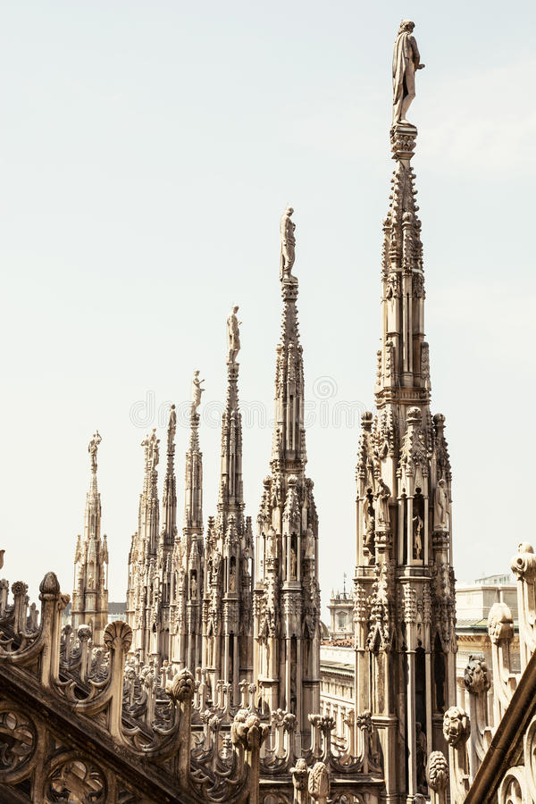 Close up photo of Milan cathedral (Duomo di Milano), Italy royalty free stock photography