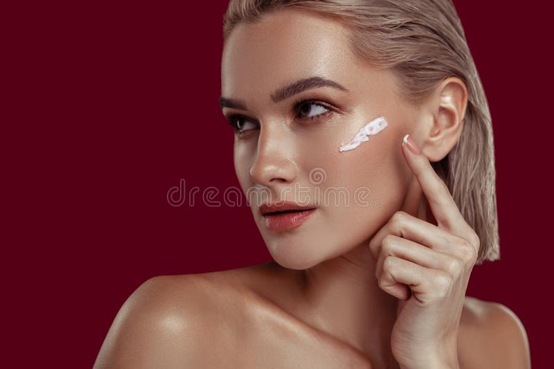 Close up of photo model with nice natural makeup posing stock photos