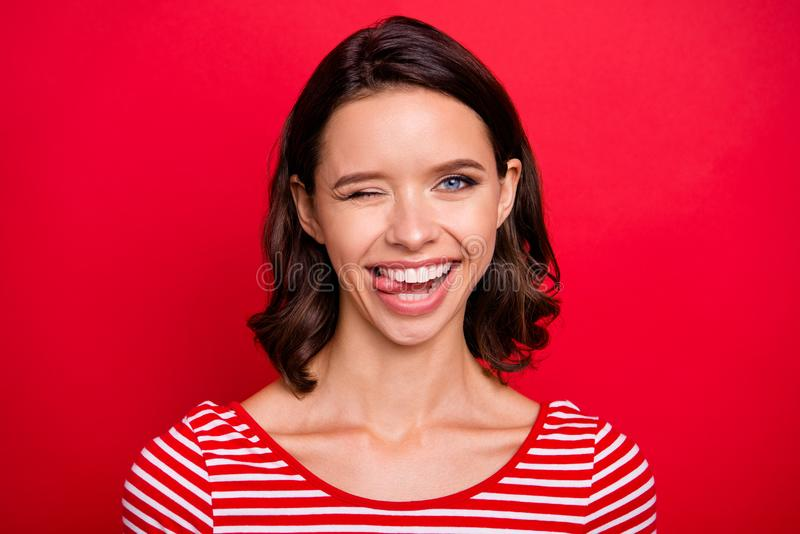 Close up photo nice cute pretty millennial youth make faces have free time weekend holidays charming feel content candid stock image