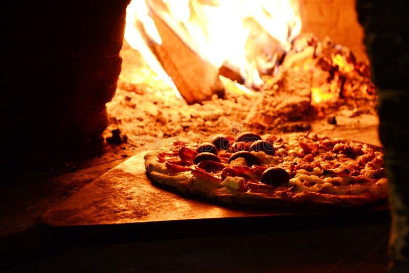 Close-up Photo of Pizza Near Bonfire stock photography