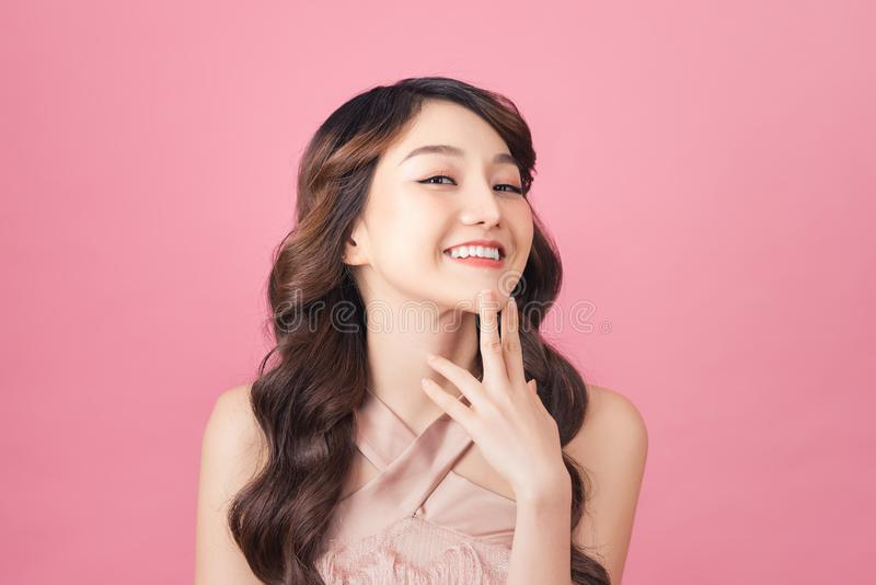 Close-up photo portrait of nice sweet lovely dream dreamy with whit teeth smile stock image