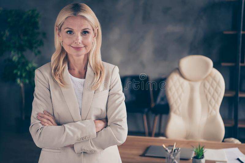 Close up photo of smart intelligent middle aged businesswoman feel independent real boss big enterprise leader cross. Hands ready give seminar, training for royalty free stock photos
