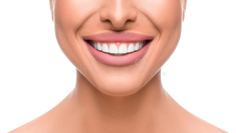 Close up photo of smiling woman. Tooth whitening concept. stock photography