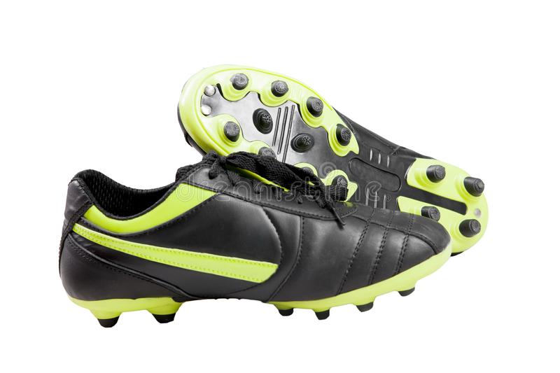 Close up photo of a soccer shoes. Isolated over white background stock photography