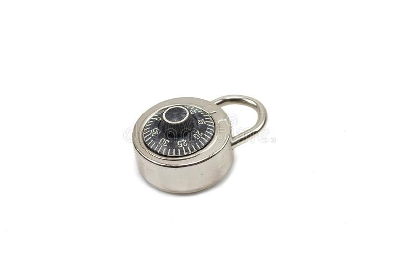 A combination padlock close up isolated on a white background stock photos