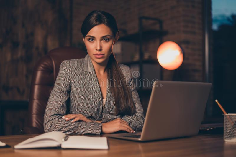 Close up photo stunning she her business lady best chief attentively look new candidate resume moments noticing notebook. Table sit big office chair wearing royalty free stock images