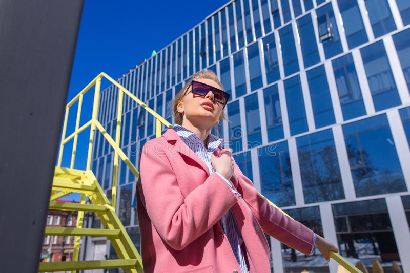 Close up photo of stylish businesswoman after work stock image