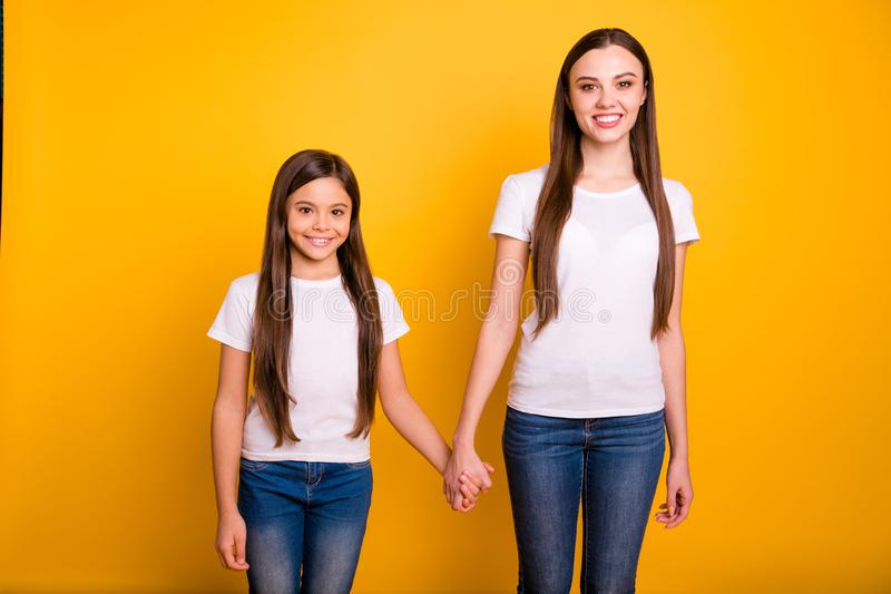 Close up photo two beautiful her she diversity lady different age best buddies hold hands arms go secondary highschool stock image