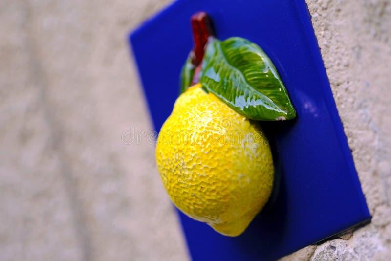 Yellow on blue, ceramics stock images