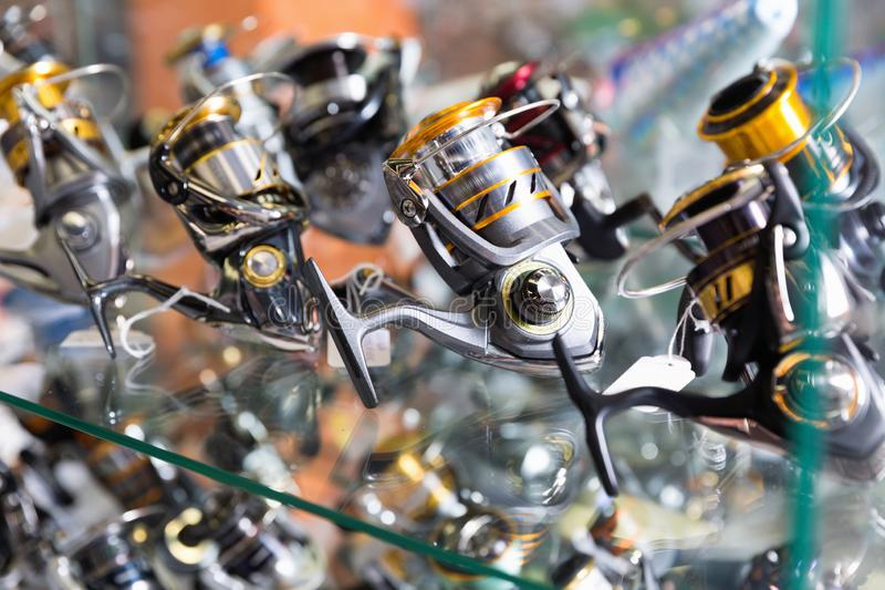 Close-up photo of variety baitcasting reel royalty free stock photos