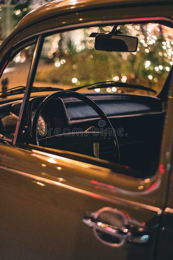 Close Up Photo of Vehicle Steering Wheel and Door stock photography