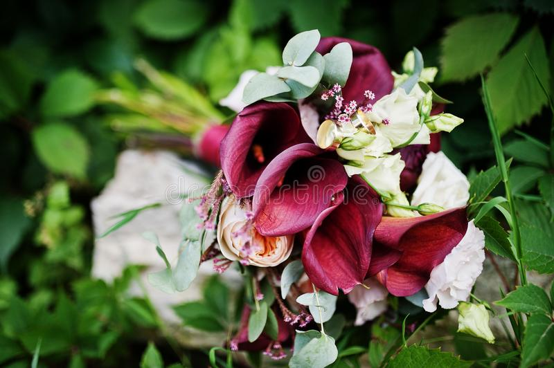 Close-up photo of a wedding bouquet made from purple calla lilies and other flowers.  royalty free stock photos