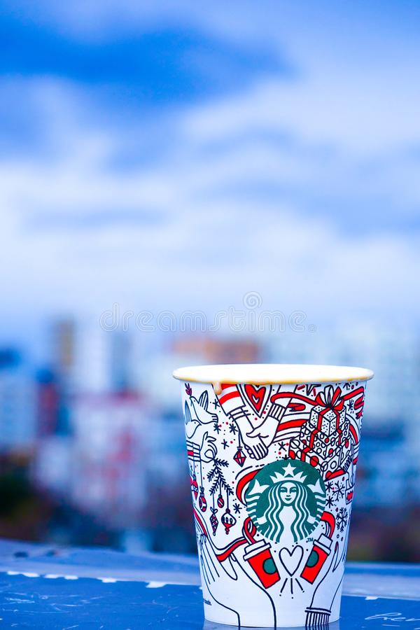 Close-Up Photo of White and Red Starbucks Disposable Cup stock images