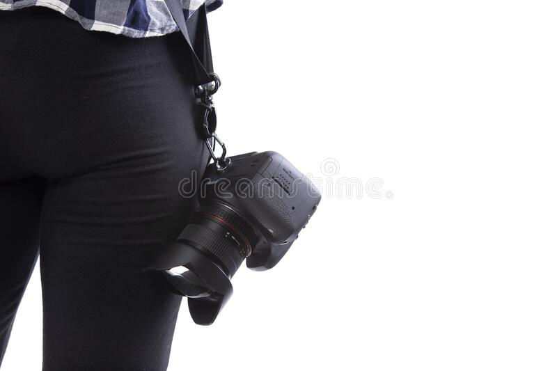 Close up of Photographers Camera and Lens royalty free stock photos