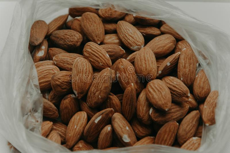 Close-Up Photography of Almond Nuts royalty free stock photos