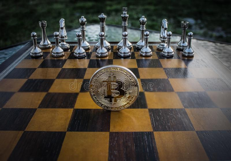 Close-up Photography of Coin on Chessboard stock images