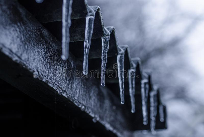 Close-up Photography of Ice Crystals on Edges of Corrugated Sheets stock photo