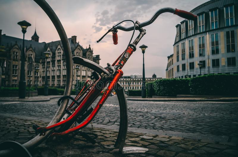 Close-up Photography of Red and Black Road Bike Frame royalty free stock photos