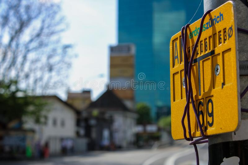 Close-up Photography of Road Signage royalty free stock photo