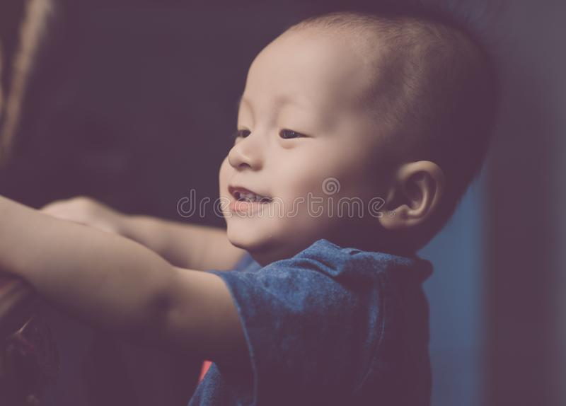 Close-Up Photography of a Smiling baby royalty free stock images