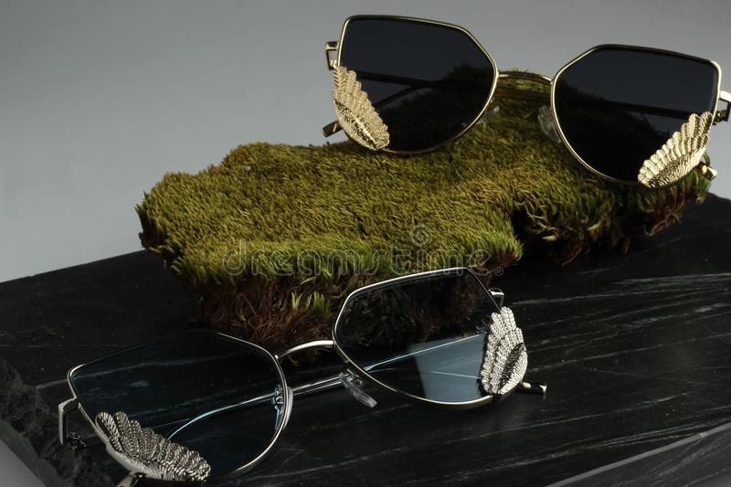 Close-Up Photography of Sunglasses royalty free stock photo