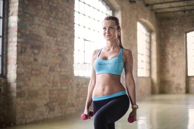 Close--up Photography of Woman Exercising stock photography
