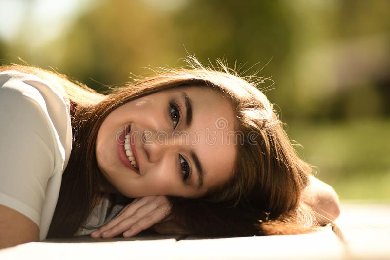 Close Up Photography of Woman Laying on Table royalty free stock photography