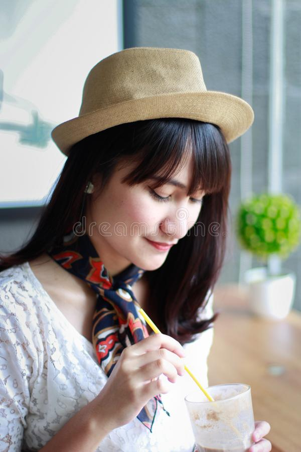 Close-Up Photography of a Woman Wearing Hat royalty free stock images