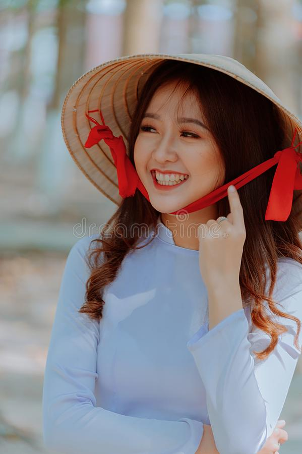 Close-Up Photography of a Woman Wearing Straw Hat royalty free stock photo