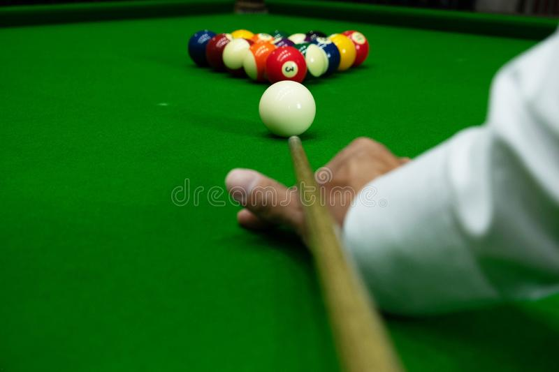 Close-up photos, playing billiard balls, various numbers, stabbing the ball, numbers and green ground.  royalty free stock photo