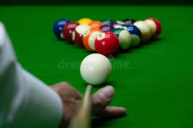 Close-up photos, playing billiard balls, various numbers, stabbing the ball, numbers and green ground.  stock photo