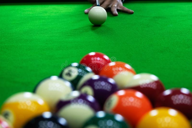 Close-up photos, playing billiard balls, various numbers, stabbing the ball, numbers and green ground.  stock image