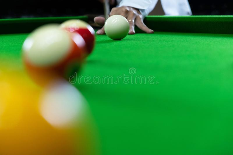 Close-up photos, playing billiard balls, various numbers, stabbing the ball, numbers and green ground.  stock photography
