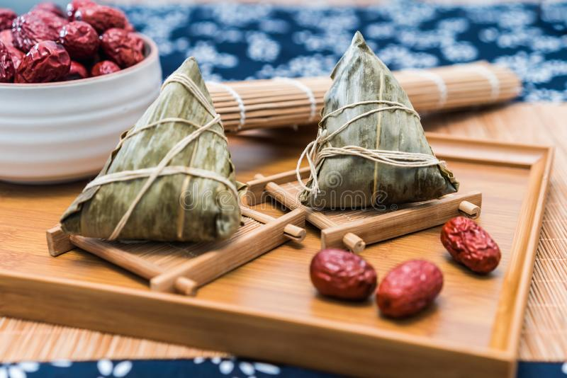 Close-up photos of zongzi and jujube on Dragon Boat Festival royalty free stock photography