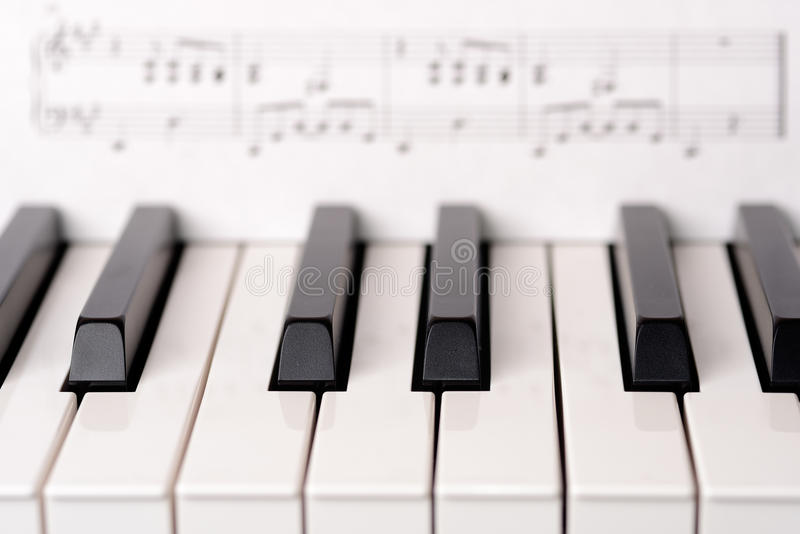 Close-up piano keyboard. Sheet music on background is copyright free royalty free stock photos
