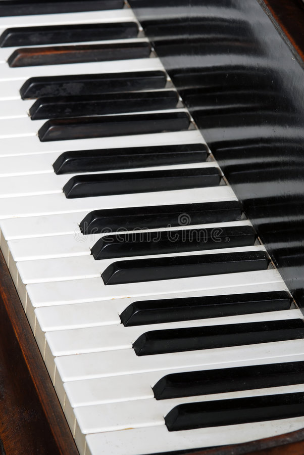 Close-up of piano keyboards royalty free stock image