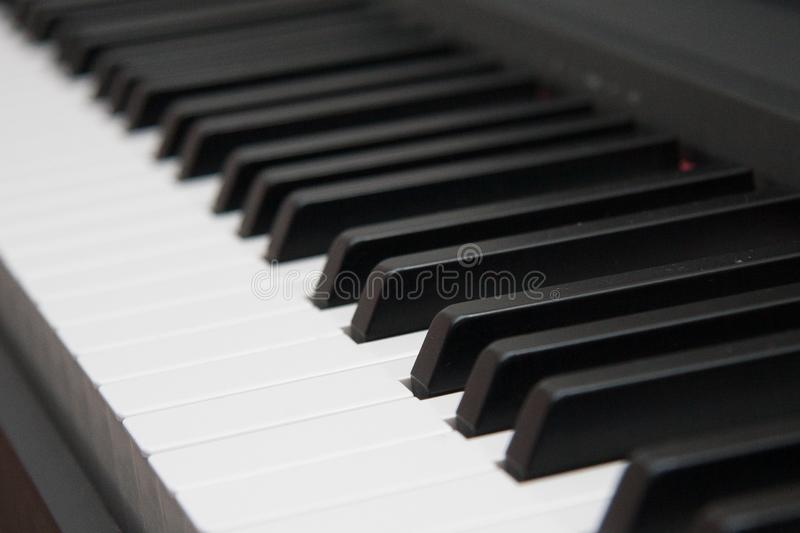 Close-up of piano keys. close frontal view. Black and white royalty free stock photography