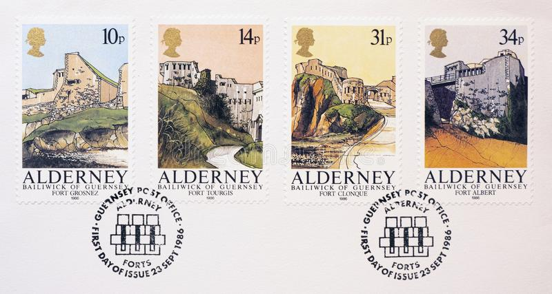 Four postage stamps showing pictures of Forts. A close up picture five postage stamps with pictures of Forts stock image