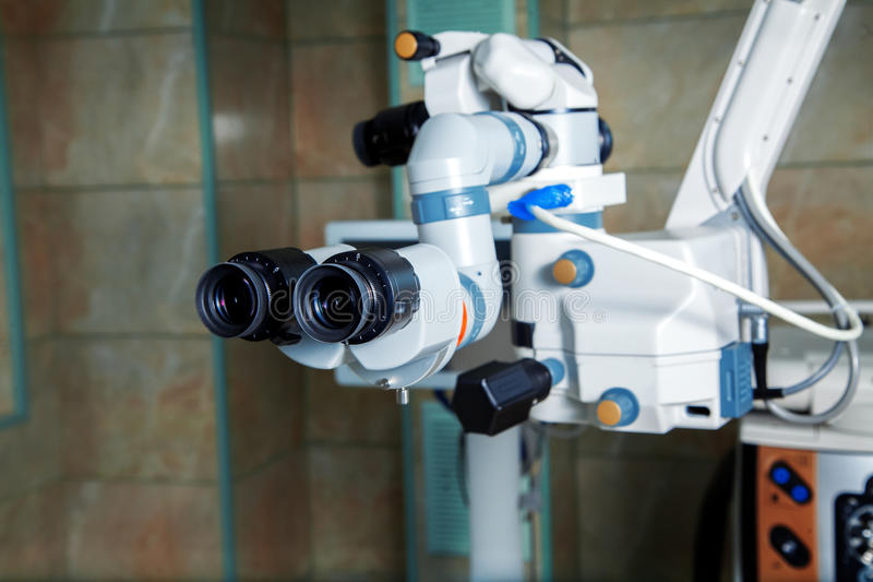 Close up picture of an operating microscope in a laboratory royalty free stock image