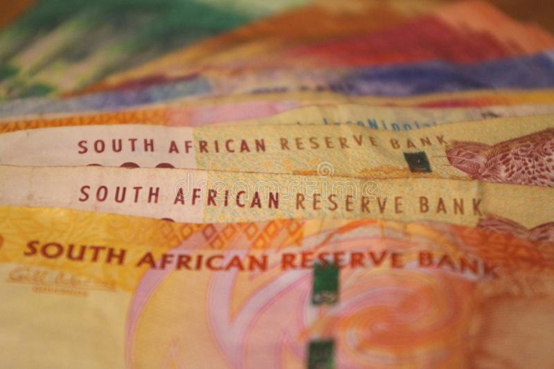 Close-up picture of rand banknotes. The Rand is legal tender in the Common Monetary Area between South Africa, Swaziland Eswatini, Lesotho, and Namibia stock image