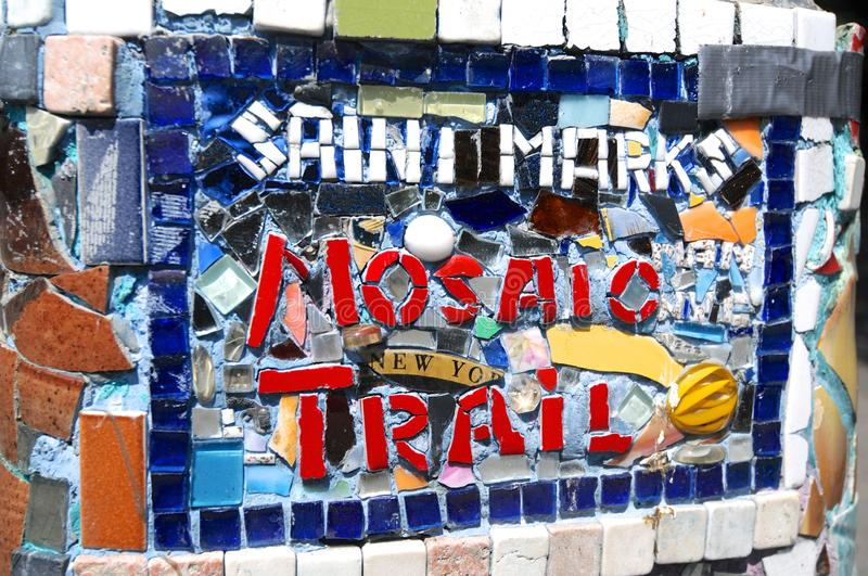Close up picture of the Saint Marks Mosaic Trail sign in East Village stock image