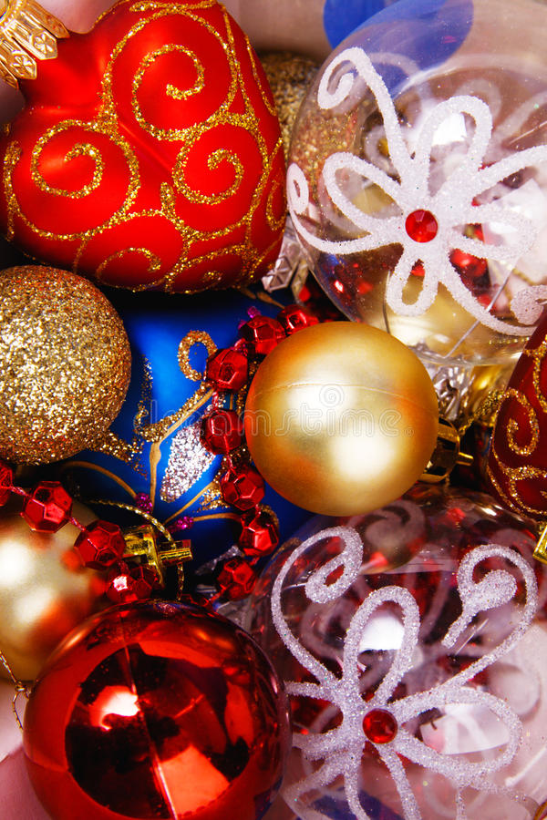 Close-up picture of splendid Christmas toys royalty free stock image