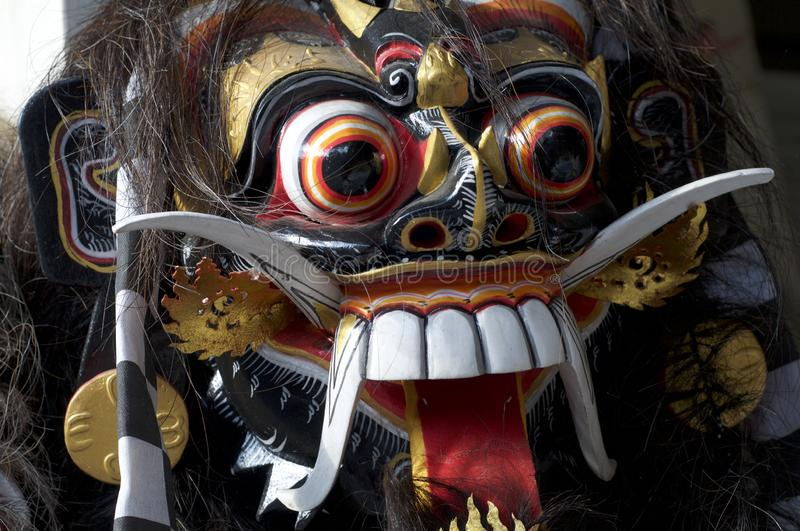 Balinese wooden barong mask royalty free stock image